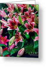 A Display Of Lilies Greeting Card
