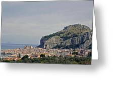 A Distant View Cefalu Sicily Greeting Card