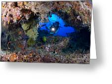 A Diver Peers Through A Coral Encrusted Greeting Card