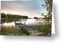 A Dock On A Lake At Sunrise Near Wawa Greeting Card