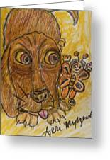 A Dog And It's Bumblebee Greeting Card