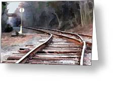 A Dreary Day On The Rail Line Greeting Card