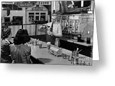 A Druggist Prepares Ice Cream Floats At A Soda Fountain Greeting Card