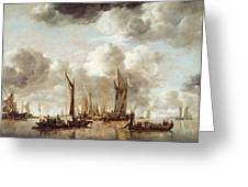 A Dutch Yacht Firing A Salute As A Barge Pulls Away Greeting Card