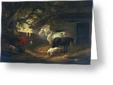 A Farmyard Greeting Card by George Morland
