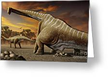 A Female Apatosaurus Laying Her Eggs Greeting Card