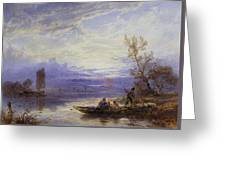 A Ferry At Sunset Greeting Card