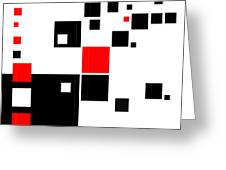 Black And Red Squares Greeting Card