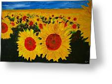 A Field Of Sunflowers Greeting Card
