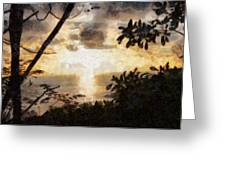 A Fiery Sunset Greeting Card