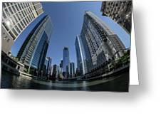 A Fisheye View Of The Chicago Skyline As You Appraoch Wolf Point Greeting Card