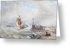 A Fishing Smack Entering Harbour Greeting Card