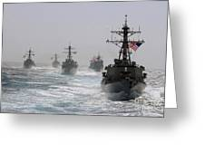A Fleet Of Ships In Formation At Sea Greeting Card