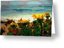 A Flowery View Of The Surf Watercolor Greeting Card