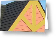 A-frame In Pastel Pink And Harvest Gold Yellow Greeting Card