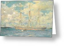 A French Barque In Falmouth Bay Greeting Card