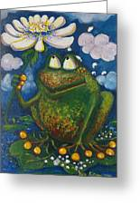 Frog In The Rain Greeting Card