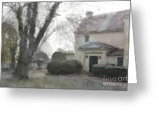 A Frosty Foggy Morning At The Manor House Greeting Card