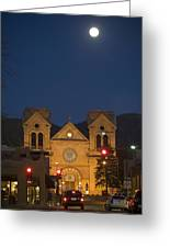 A Full Moon Rises Over  Cathedral Greeting Card