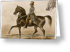 A Gentleman On Horseback With A Subsidiary Study Of The Horse's Head Greeting Card