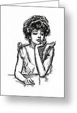 A Gibson Girl Posing Greeting Card