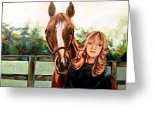 Wide Eyed Girl And Her Horse Greeting Card