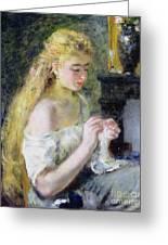 A Girl Crocheting Greeting Card by Pierre Auguste Renoir