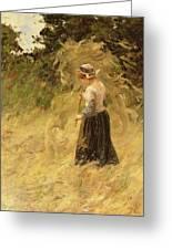A Girl Harvesting Hay Greeting Card