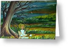 A Girl Near The Pond Greeting Card