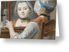 A Girl Wearing A Bonnet Greeting Card