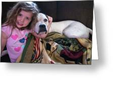A Girlie-girl And Her Dog Greeting Card
