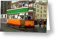 A Glasgow Tram With Figures And Tenement Greeting Card
