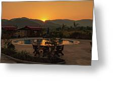 A Golden Sunset In Loas Greeting Card