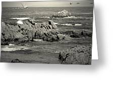 A Good Day Fishing On Monterey Bay In Black And White Greeting Card