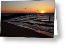 A Grand Beach Sunset Greeting Card