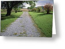 A Gravel Road Marks The Entranceexit Greeting Card