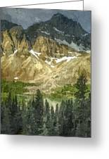 A Gray Sky Over The Canadian Rockies Greeting Card