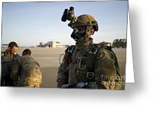 A Green Beret Waits To Have His Gear Greeting Card