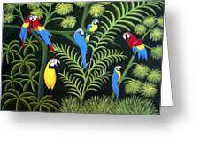 A Group Of Macaws Greeting Card