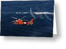 A Helicopter Crew Trains Off The Coast Greeting Card by Stocktrek Images