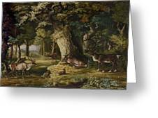 A Herd Of Stag And A Fawn In A Woodland Landscape Greeting Card