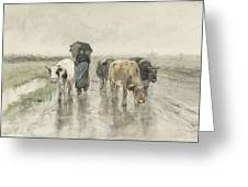 A Herdess With Cows On A Country Road In The Rain Greeting Card