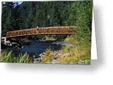 A Hiker Crosses A Bridge Greeting Card