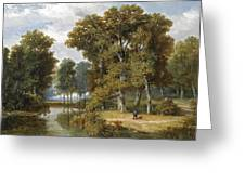 A Hunter And An Angler In A Wooded Landscape Greeting Card