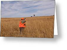 A Hunter Shoots A Ring Necked Pheasant Greeting Card