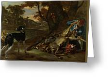 A Huntsman Cutting Up A Dead Deer, With Two Deerhounds Greeting Card