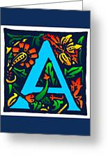 A In Blue Greeting Card