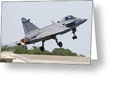 A Jas-39 Gripen Of The Swedish Air Greeting Card