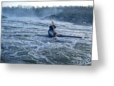A Kayaker Takes On White Water Rapids Greeting Card