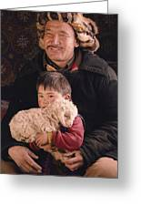 A Kazakh Eagle Hunter And His Son Greeting Card by David Edwards